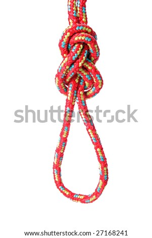 A fine knotted figure of eight loop in front of a white background
