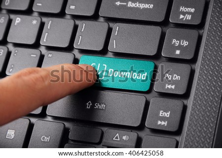 A finger gesturing to click the DOWNLOAD button on a laptop keyboard