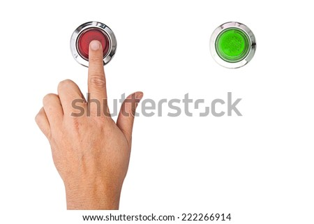 A finger pressing a red panic button on white background - stock photo
