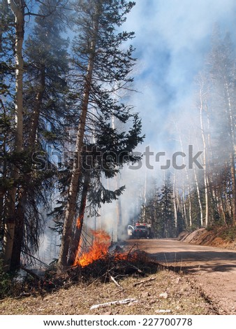 A fire engine arrives on the scene of a forest fire. - stock photo