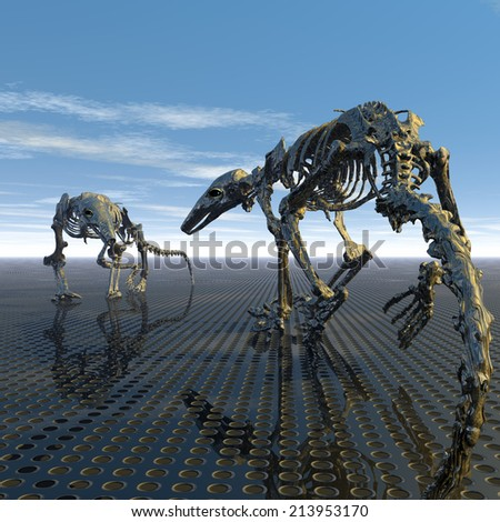 A first encounter in an evolutionary stage - stock photo
