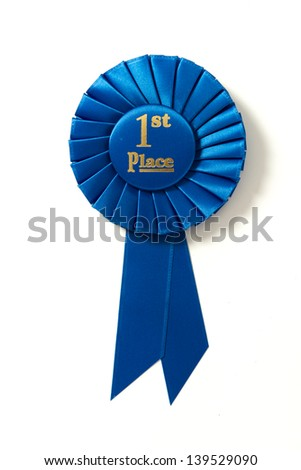 A first place blue ribbon on a white background - stock photo