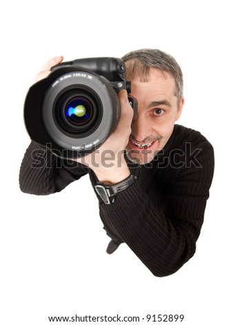 A fish eye shot of photographer, isolated on white