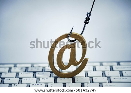 Fish Hook Email Sign On Computer Stock Photo Royalty Free