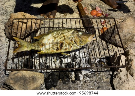 a fish is grilling on the beach - stock photo