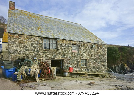 A Fishermans work shop on the Lizard Peninsula, Cornwall, England, UK