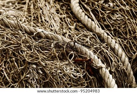 a fishing net closeup - stock photo