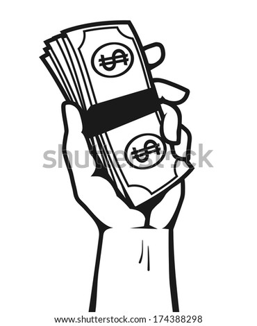 A fistful of money: Design of hand holding a stack of dollar bills