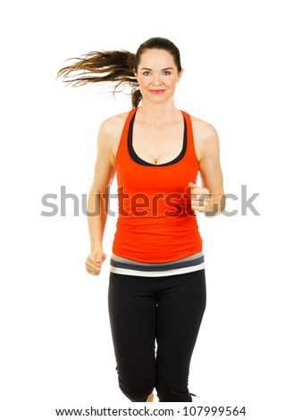 A fit happy, beautiful woman doing aerobic workout. Isolated over white.