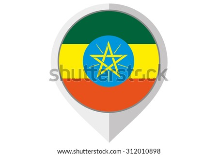A Flag Illustration inside a pointed of the country of Ethiopia