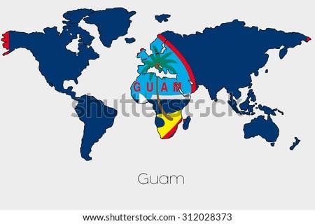 Flag Illustration Inside Shape World Map Stock Illustration - Guam world map