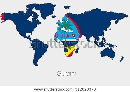 Flag Illustration Inside Shape World Map Stock Illustration - Is guam a country