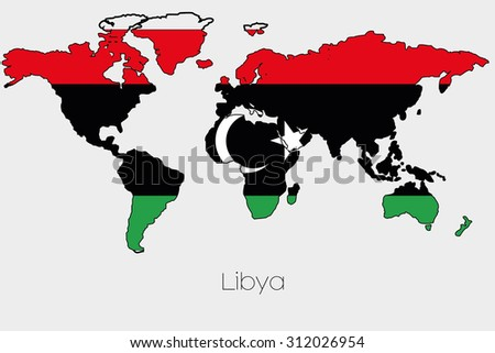 A Flag Illustration inside the shape of a world map of the country of  Libya-46
