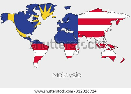 A Flag Illustration inside the shape of a world map of the country of  Malaysia