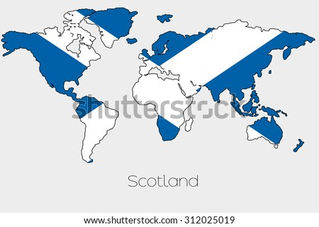 Flag illustration inside shape world map stock illustration a flag illustration inside the shape of a world map of the country of scotland gumiabroncs Choice Image