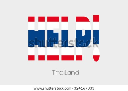 A Flag Illustration inside the word Help of the country of Thailand