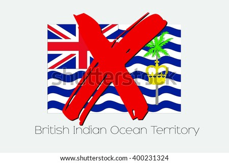 A Flag Illustration with a Cross through it of British Indian Ocean Territory