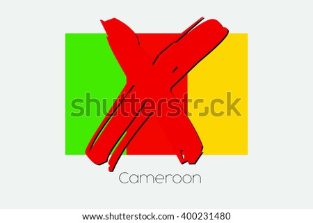 A Flag Illustration with a Cross through it of Cameroon