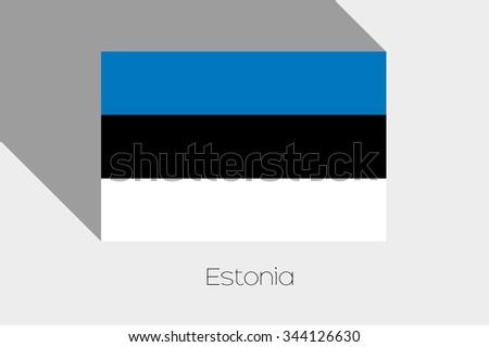 A Flag Illustration with Shadow of Estonia - stock photo