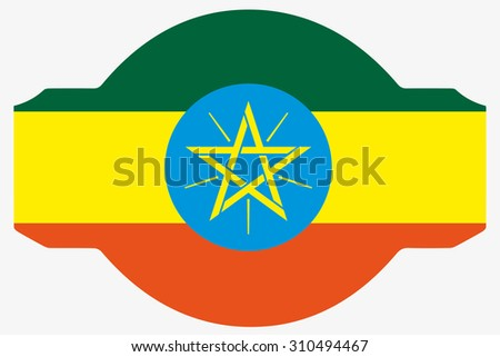 A Flag Illustration within a Sign of the country of  Ethiopia
