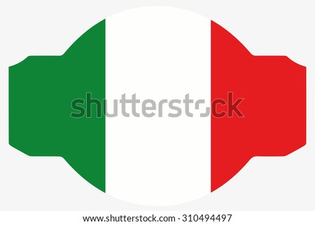 A Flag Illustration within a Sign of the country of  Italy