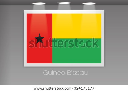 A Flag Isolated on Gallery Wall of Guinea Bissau
