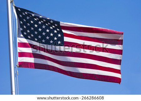 A flag lit by the sun.
