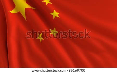 A flag of China in the wind