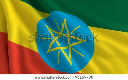 A flag of Ethiopia in the wind - stock photo