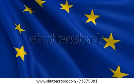 A flag of Europe in the wind