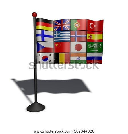 a flag of flags that can stand for translation - stock photo