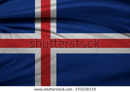 A flag of Iceland in the wind  - stock photo
