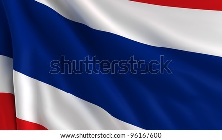 A flag of Thailand in the wind