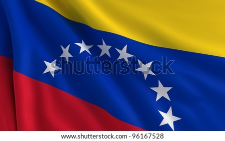 A flag of Venezuela in the wind - stock photo