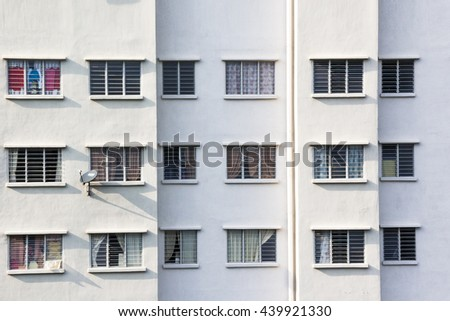 A flat aerial view of an apartment in Malaysia in the afternoon - stock photo