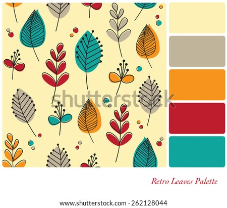 A flat design background of retro leaves and flowers, in a colour palette with complimentary colour swatches.  - stock photo