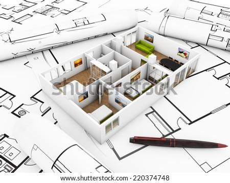 a flat mockup over plots, interior design concept - stock photo