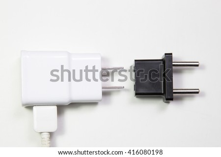 A flat pin power plug and a round pin adapter. Theme: Adaptation to a changing/local environment/culture in order to survive/compete.