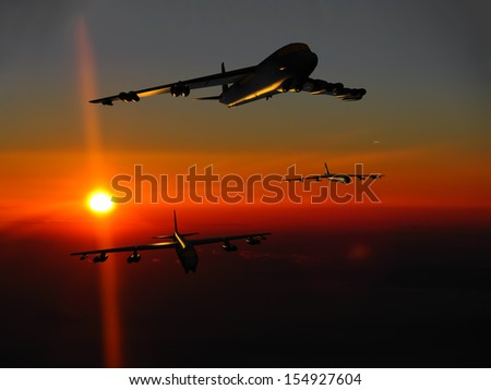 A fleet of jet bombers at sunset/sunrise. (Artist's impression)