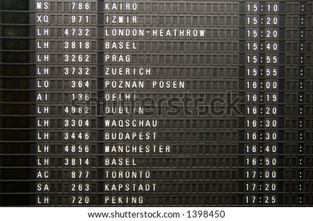 A flight information panel taken at the Frankfurt Airport.