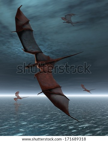 A flight of four red dragons over a calm moonlit sea, 3d digitally rendered illustration - stock photo