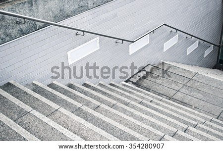 A flight of stone stairs at a subway station in Germany