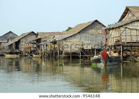 A floating village in Cambodia during the rainy season