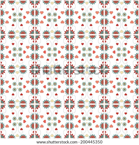 A floral background pattern of repeating tiles in blue and red hues. - stock photo