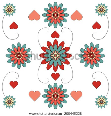 A floral patten tile in hues of red and blue - stock photo