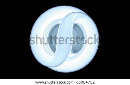 """A florescent bulb showing an """"S"""" for saving energy of and money - stock photo"""