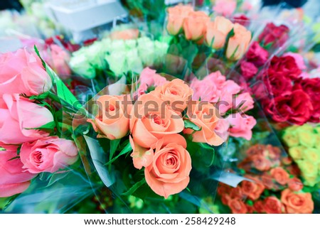 A flower bouquet with a lot of a different flowers - stock photo