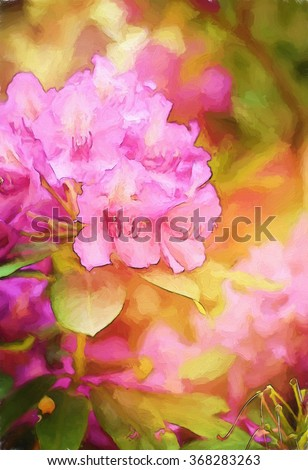 A flowering pink rhododendron bush transformed into a colorful painting