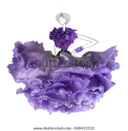 A flowers and hand-draw costume design at the runway - stock photo
