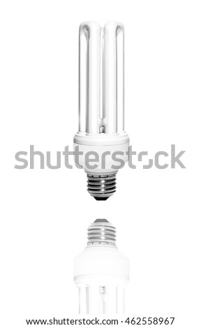A fluorescent light bulb reflected on a white surface.